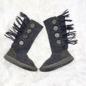 Ugg Knit Boots Cardy Fringe Gray Women 6.5